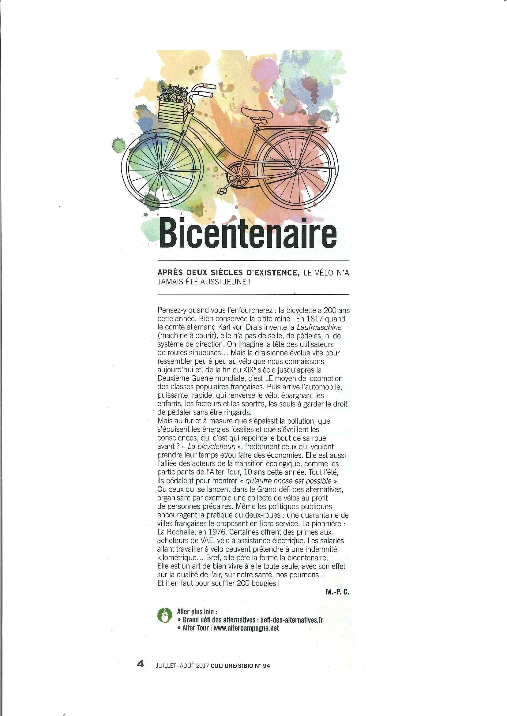 BICENTENAIRE : le vélo
