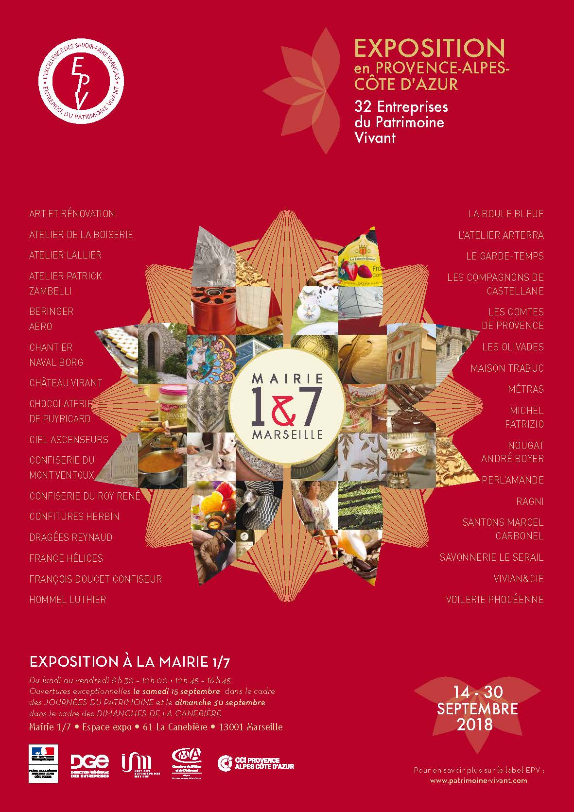 Du 14/09 au 30/09/2018 : Exposition des Entreprises du Patrimoine Vivant de la région P.A.C.A