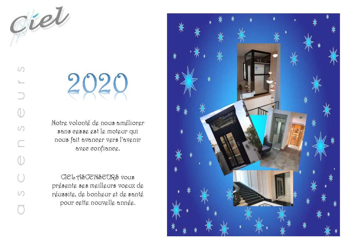 2020 : CIEL ASCENSEURS VOUS SOUHAITE UNE BONNE ANNEE