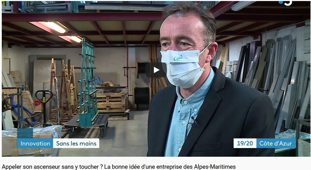 Reportage 19/20 FRANCE 3 COTE D'AZUR : Appeler son ascenseur sans y toucher ?