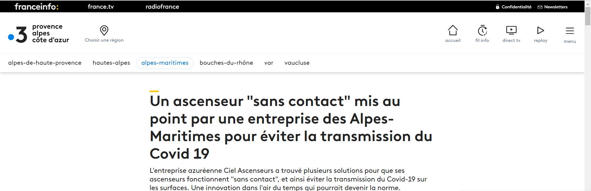 Publication par FRANCE 3 PROVENCE ALPES COTE D'AZUR du 19/02/2021